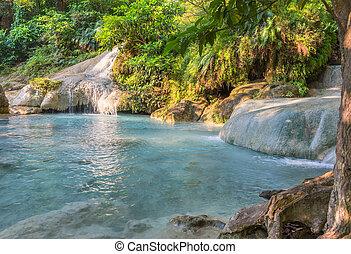 água, sete, cascata, forest., jangle, parque nacional, turquesa, profundo, quedas, tropicais, kanchanaburi, erawan, cachoeira, chuva, fluir, passo, tailandia, paisagem