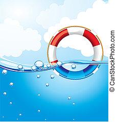 água, sobre, flutuador