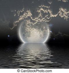 água, sobre, lua