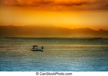 água, sobre, pôr do sol, asiático