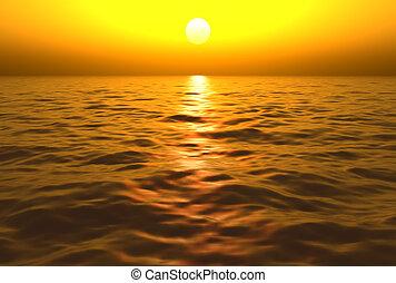 água, sobre, pôr do sol