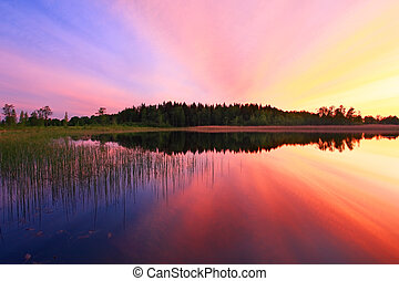 água, sobre, pôr do sol, coloridos