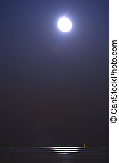água, sobre, quieto, lua