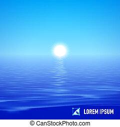 água, sobre, sol, pacata