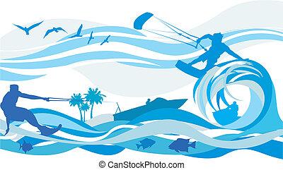 água, surfando, -, esportes, papagaio