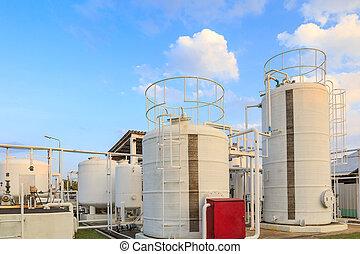 água, tanque óleo, fábrica, di