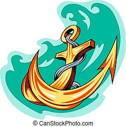 água, tatuagem, marinheiro, -, âncora