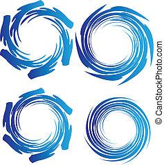água, terra, ondas, logotipo, círculo