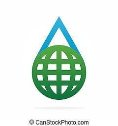 água, terra, vetorial, combinação, logotipo
