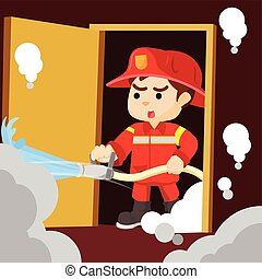água, tiroteio, bombeiro
