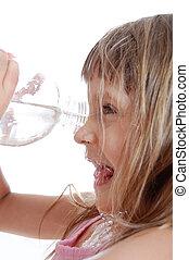 água, tocando, sedento, criança