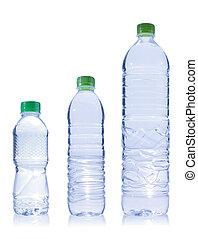 água, três, garrafa, plástico