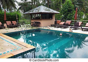 água, transparente, piscina