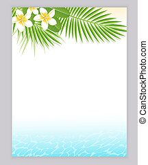 água tropical, flores, azul