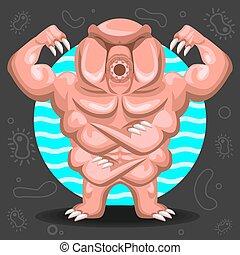 água, urso, ilustração, tardigrade
