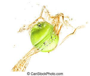 água, verde, respingo, maçã, isolado
