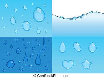 água, vetorial, fundos, 4