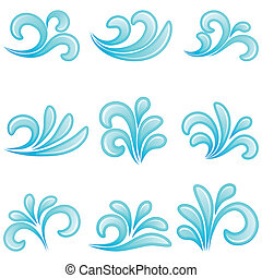 água, vetorial, illustration., icons.