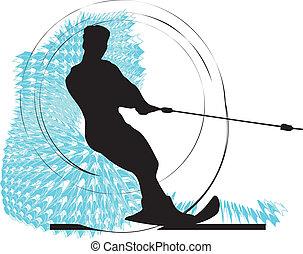água, vetorial, man., esquiando