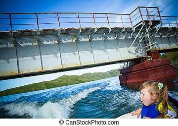 água, viagem, crianças, bote