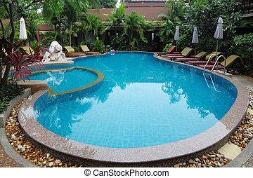 água, whimsically, curvado, claro, piscina