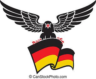 águia alemã, bandeira, pretas