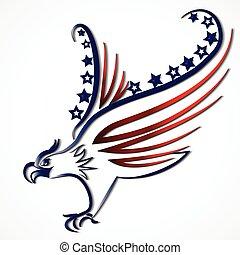 águia, americano, bandeira eua, ícone, logotipo