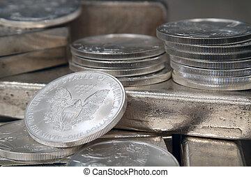 águia, americano, moeda, prata