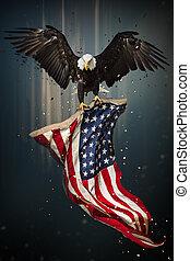 águia, americano, voando, calvo, flag.