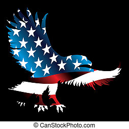 águia, bandeira, vetorial, arte, americano