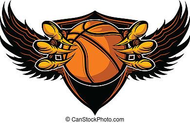águia, basquetebol, garras, talons, ilustração, vetorial