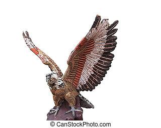águia, branca, isole, fundo, escultura