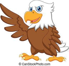 águia, caricatura, waving