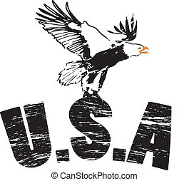 águia, com, eua, em, grunge, ilustração