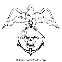águia, cranio, âncora