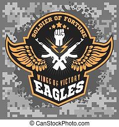 águia, elementos, -, etiqueta, militar, desenho, asas, emblemas