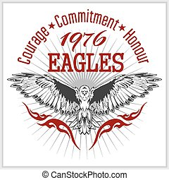 águia, emblema, vindima, -, etiqueta, retro