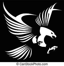 águia, espalhar, asas