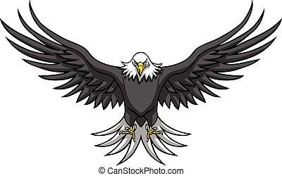 águia, espalhar, asas, mascote