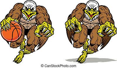 águia, executando, mascote