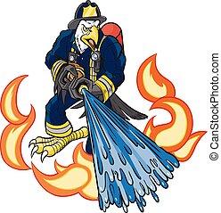 águia, fogo, calvo, bombeiro, água, spays, mascote