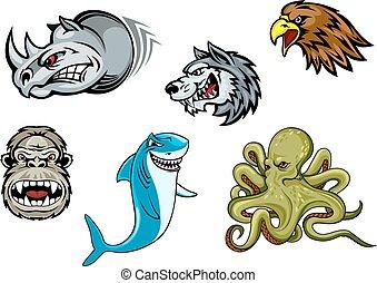 águia, gorila, rinoceronte, lobo, polvo, caricatura, tubarão