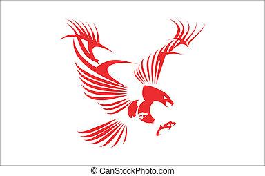 águia, grande, vermelho
