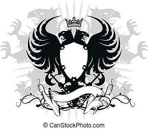 águia, heraldic, head03, dobro