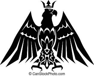 águia, heraldic, pretas, coroa