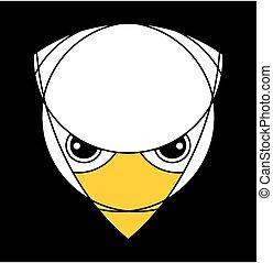 águia, isolado, pretas, falcão, head., ou, raptor