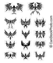 águia, jogo, 14, asas