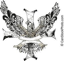 águia, ligado, crucifixos, com, fleur lis, emblema