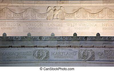 águia, lincoln, washington, cima, dc, memorial, detalhes, fim, mármore