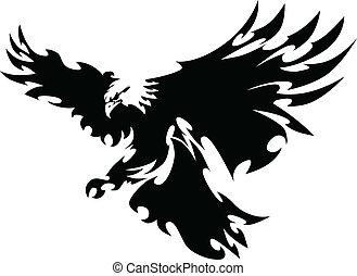 águia, mascote, voando, asas, desenho